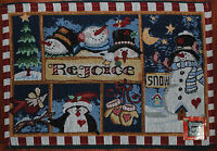 Tapestry Placemat~Snowman~Penguin~Cardinal~Red~Christmas~Winter~Snow~Holiday~NEW