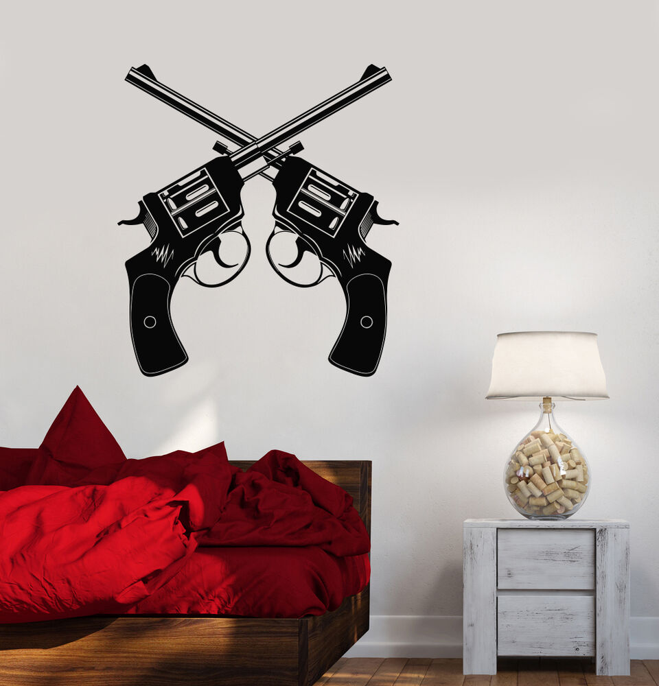 vinyl decal gun shop revolver weapons shooting range wall stickers ig3456 ebay. Black Bedroom Furniture Sets. Home Design Ideas