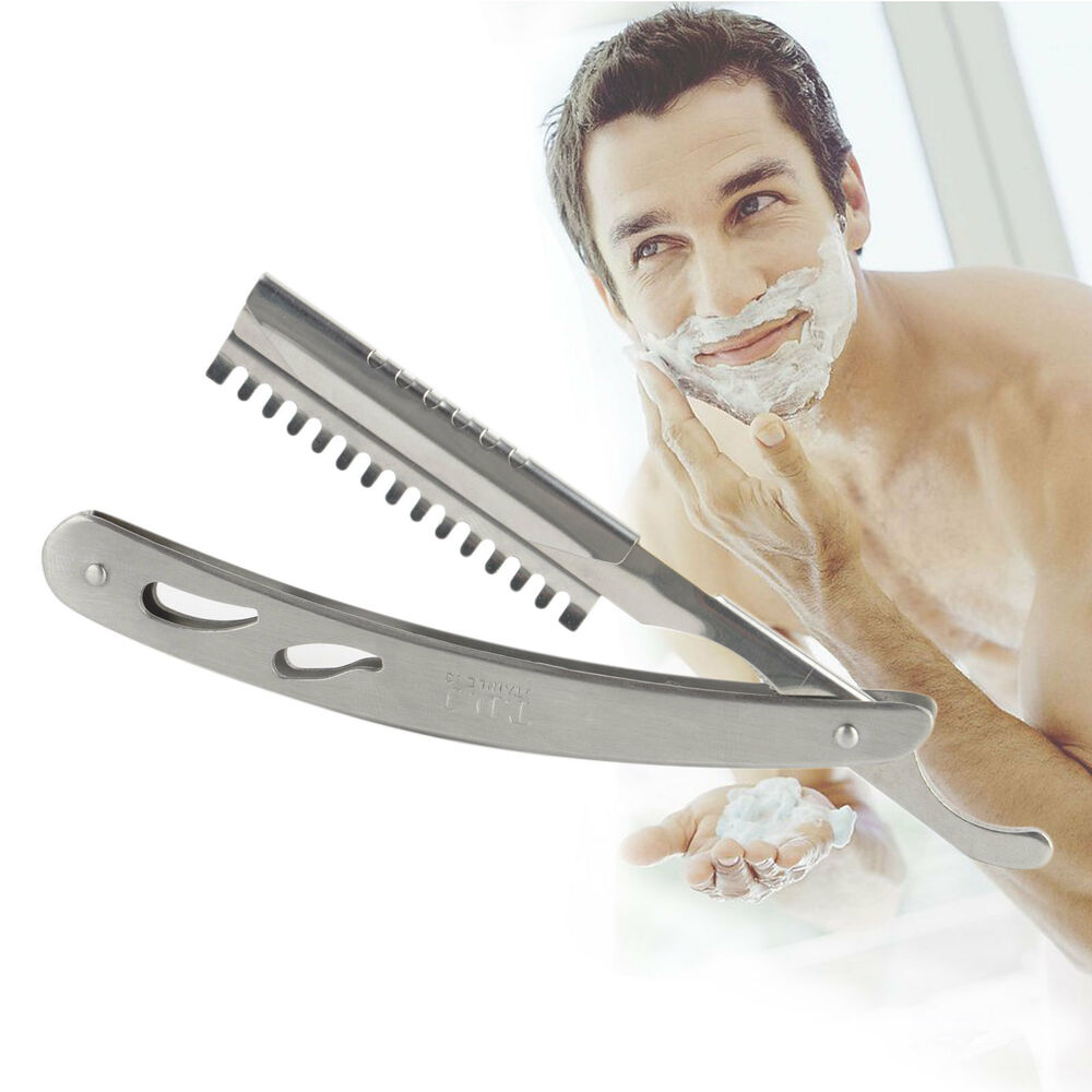 Salon Stainless Steel Straight Edge Barber Razor Folding Shaving Knife ...