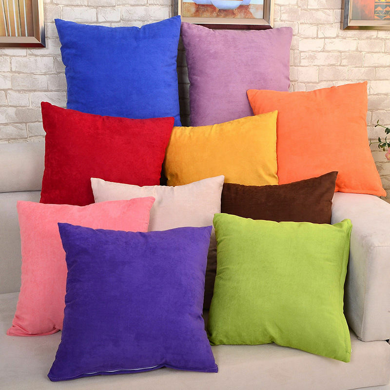New Solid Suede Nap Cushion Cover Home Decor Bed Sofa