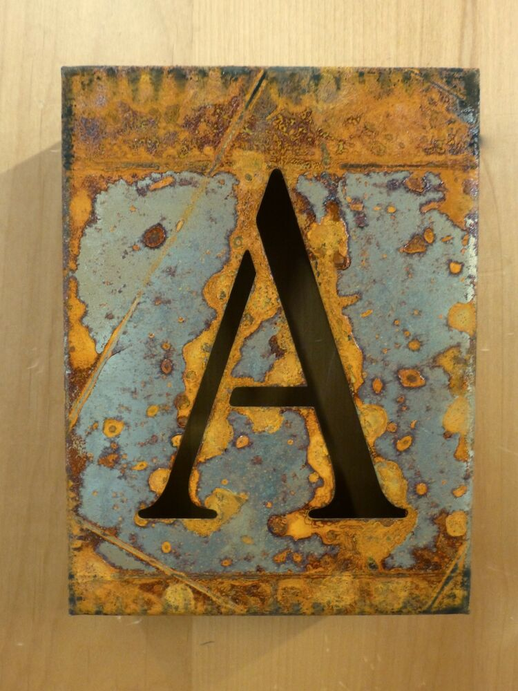 8 Quot Rusty Rusted Industrial Metal Block Cut Sign Letter A