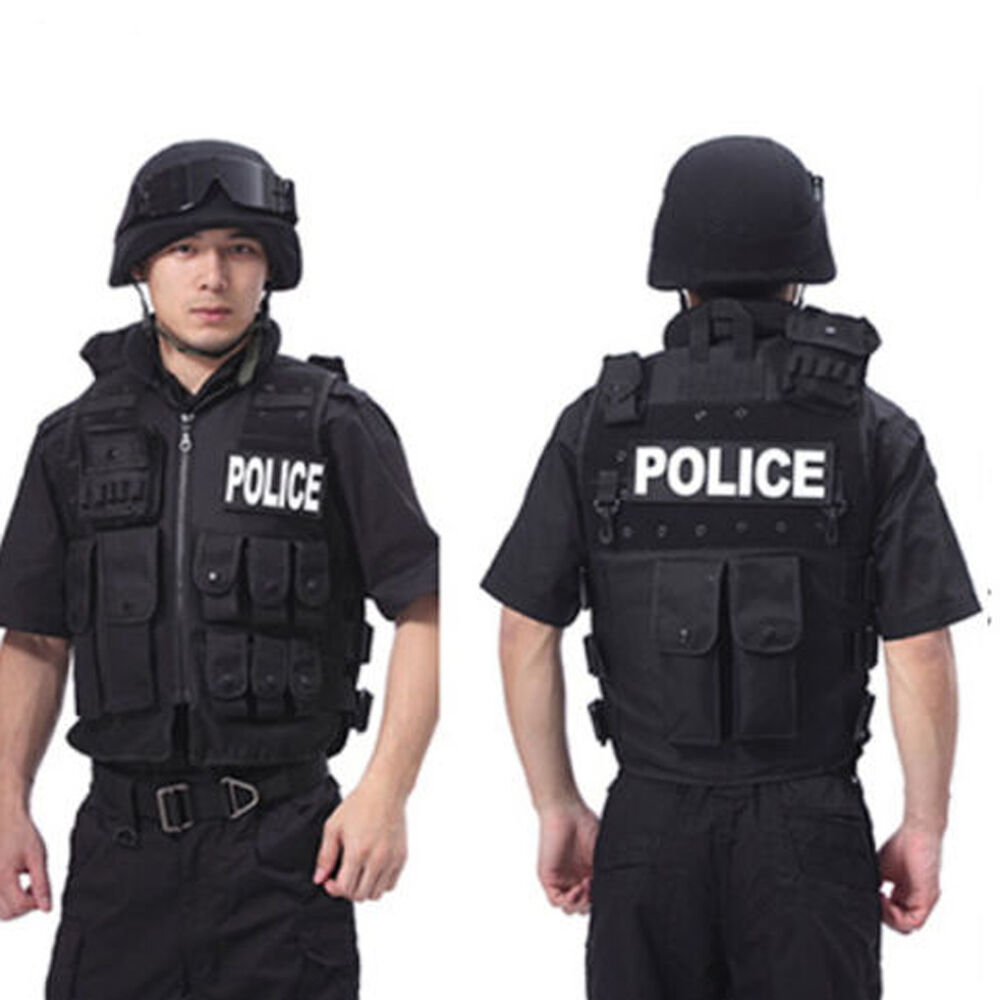 NEW POLICE Men Tactical Vest BLACK For Army Military SWAT ...