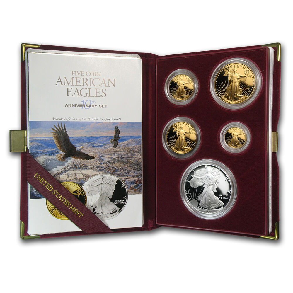 1995 W Proof American Eagles 10th Anniversary 5 Coin Set Box And Certificate Ebay