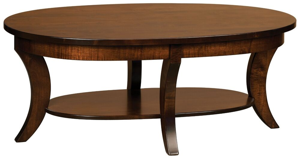 Wooden Couch End Tables ~ Amish occasional accent table set oval round coffee end
