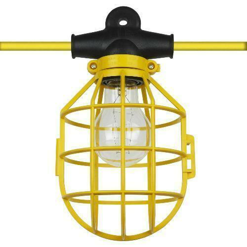 String Lights For Construction Sites : 100 ft Temporary Lighting String Work Construction Bulb Cages 14/2 Male Female eBay