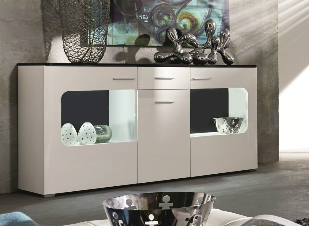 kommode sideboard hochglanz weiss anrichte design m bel schrank inkl led lucky ebay. Black Bedroom Furniture Sets. Home Design Ideas