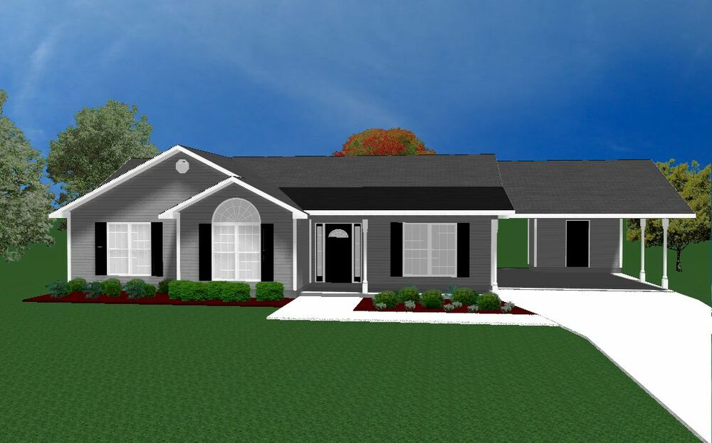 House Plans For 1490 Sq Ft 3 Bedroom House W Carport Ebay