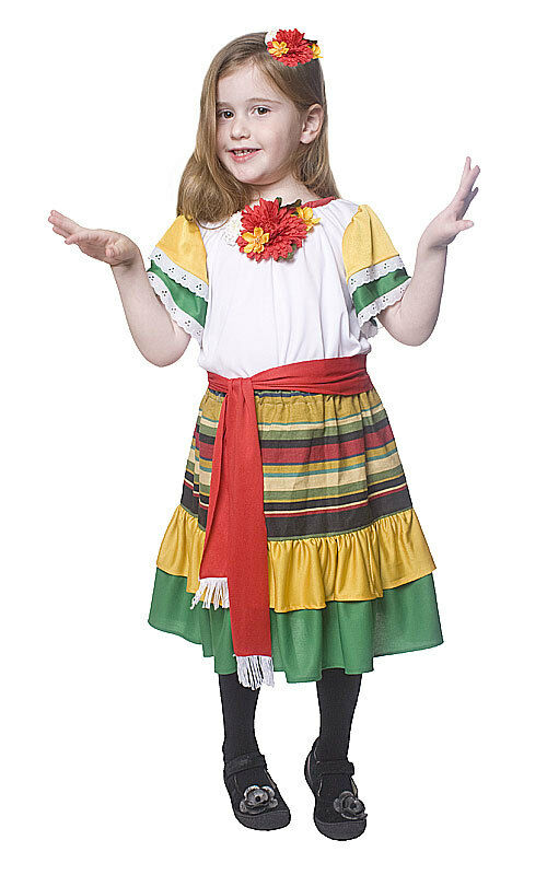 GIRLS KIDS MEXICAN GIRL SPANISH DANCER FANCY DRESS COSTUME OUTFIT AGE 4-6-8-12 | eBay