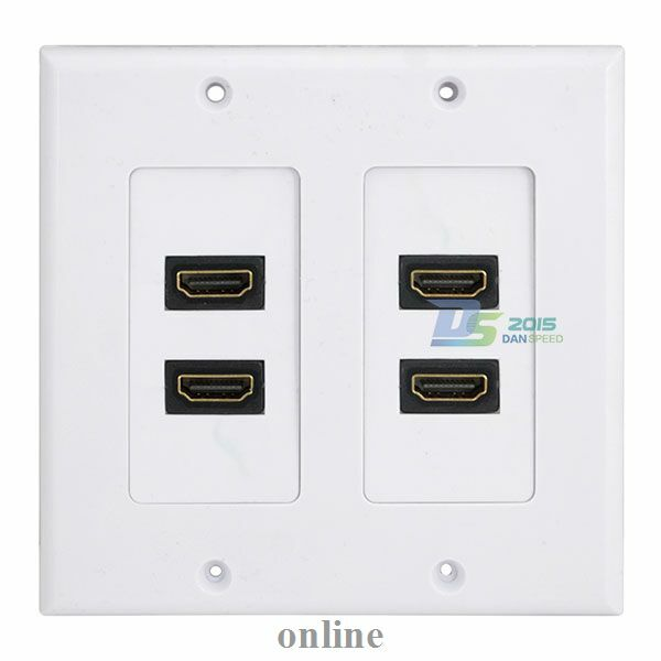 new white hdmi 4 port wall face plate panel outlet 3d 1080p cover coupler socket ebay. Black Bedroom Furniture Sets. Home Design Ideas