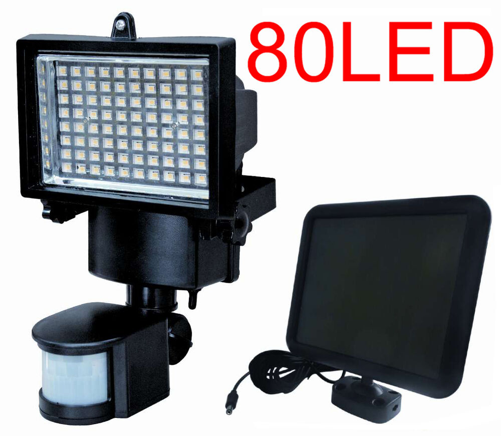 80 led solar powered motion sensor security flood light. Black Bedroom Furniture Sets. Home Design Ideas