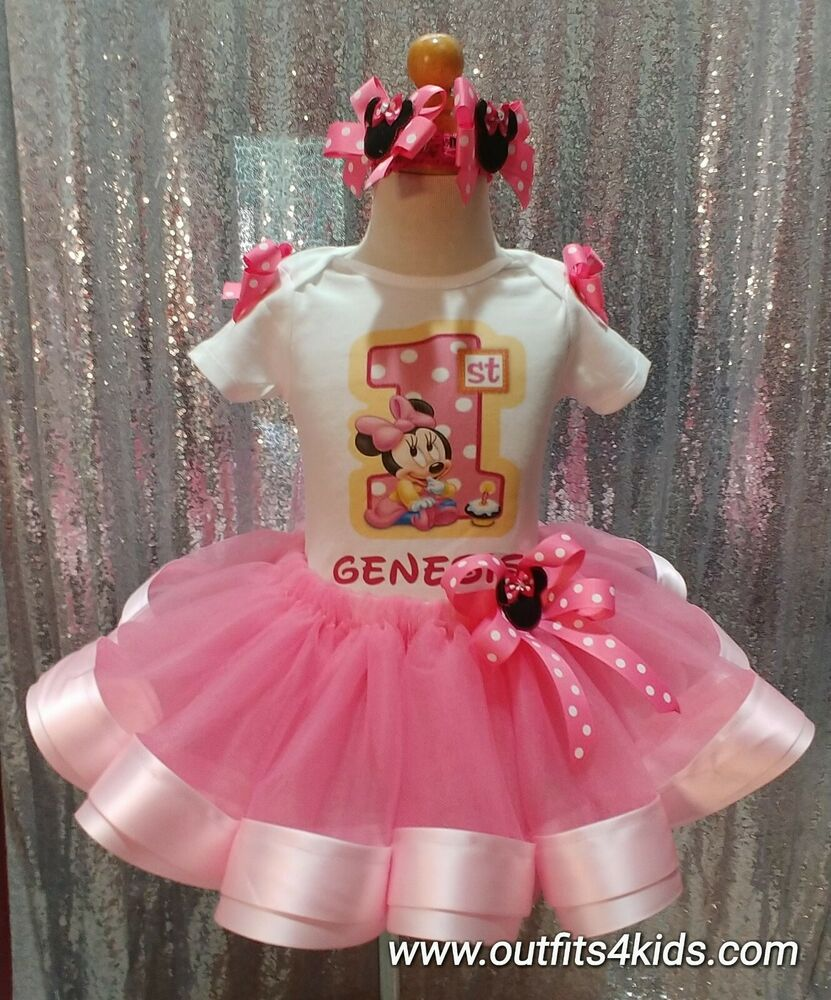 Toddler Tutus Toddler Tutu Outfits Toddler Birthday Tutus: Personalized Baby Minnie Mouse First Birthday Ribbon Trim