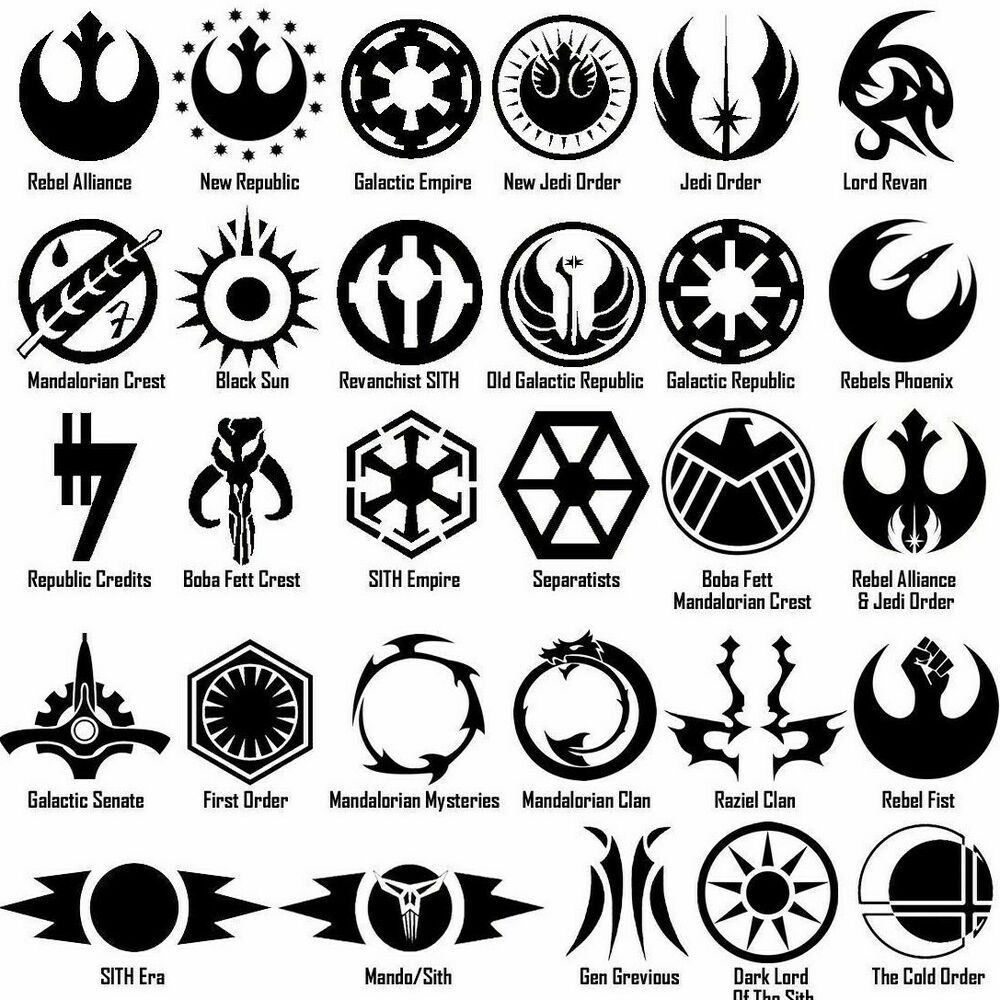starwars symbols vinyl decal sticker door window star wars. Black Bedroom Furniture Sets. Home Design Ideas