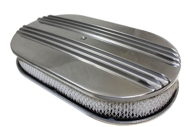 Built Rat Rod Air Cleaner : Quot polished split finned oval air cleaner fits holley