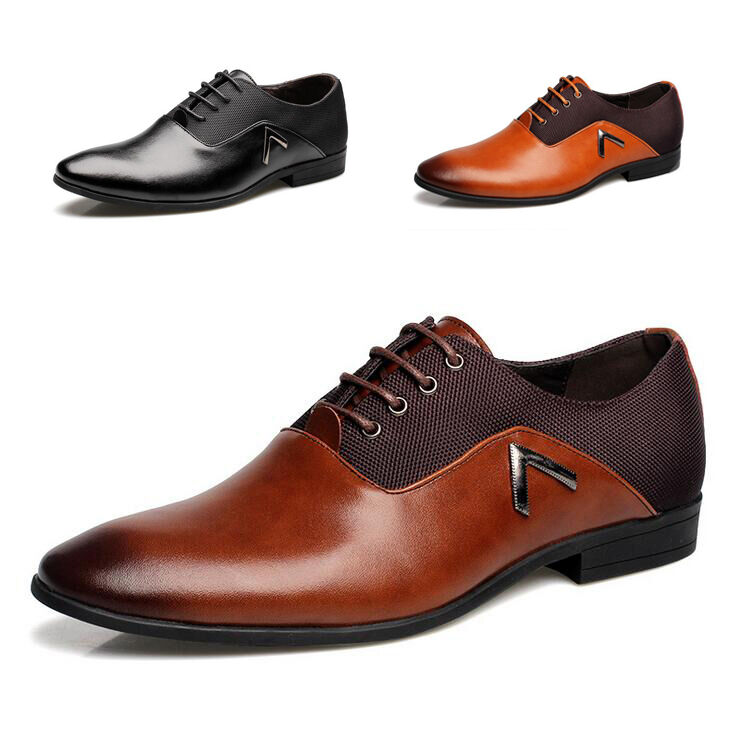 men business dress formal leather shoes flat oxfords loafers