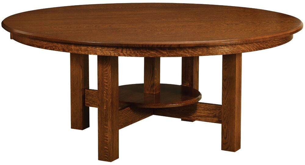 Amish handcrafted round dining table arts crafts mission for Solid wood round tables dining