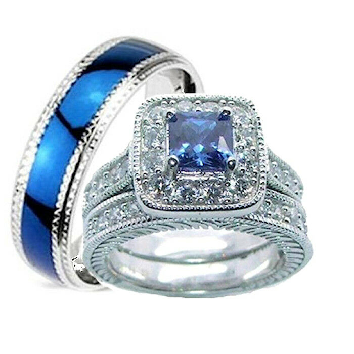 his and hers wedding rings 3 pc set sapphire blue cz sterling silver ring set ebay - Sapphire Wedding Ring Sets