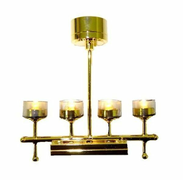 Dollhouse Miniatures Battery Lights: Battery Operated Lighting Modern Four Light Chandelier 1