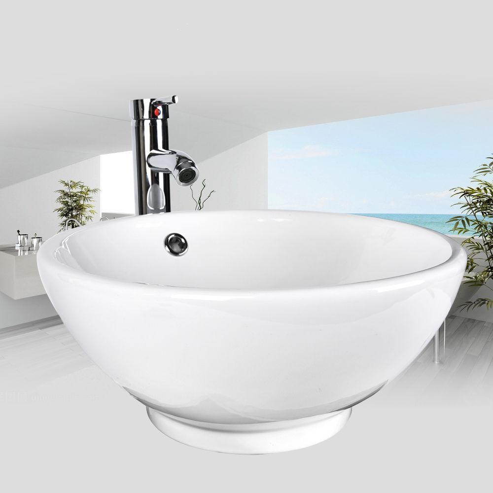 Bathroom Round White Porcelain Ceramic Vessel Sink Chrome