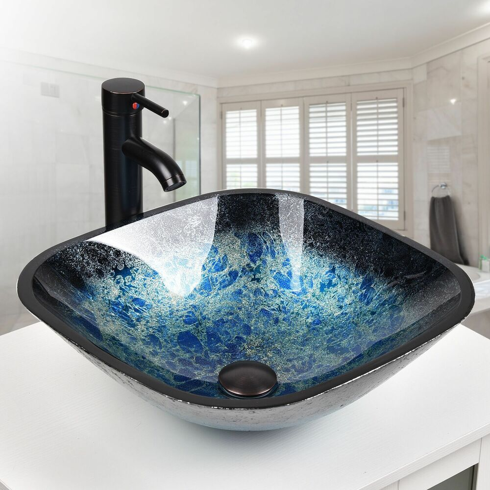 glass bathroom vessel sinks square bathroom glass vessel sink bowl rubbed bronze 18470