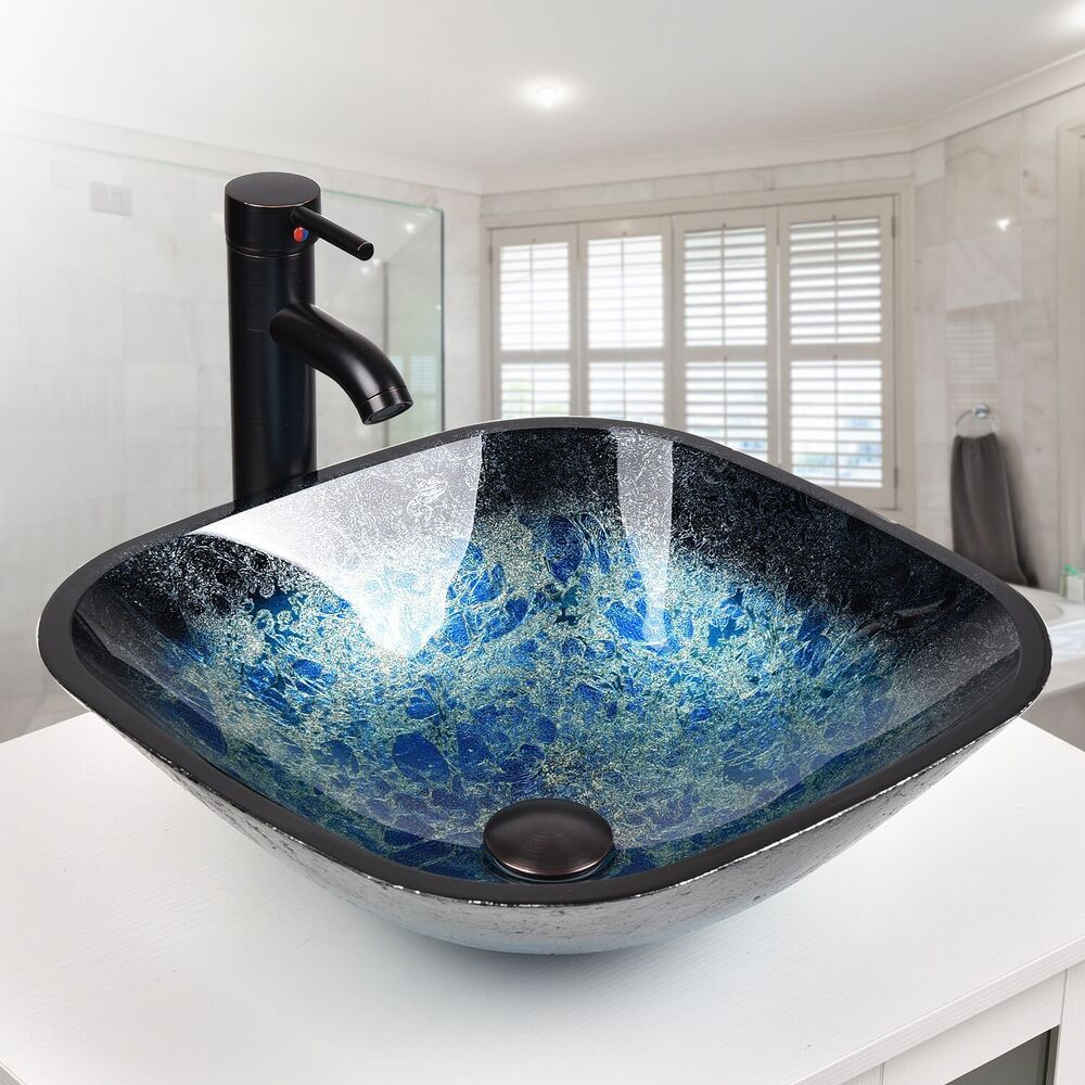 Bathroom vessel sink drain faucet basin vanity glass bowl for Bathroom ideas vessel sink