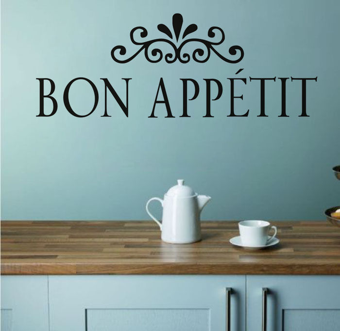 Flower Pattern Bon Appetit Wall Sticker French Language