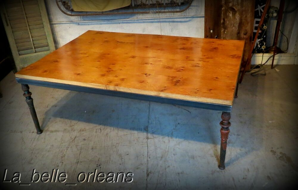 Custom made coffee table 19th c new orleans cast iron for Coffee table with cast iron legs