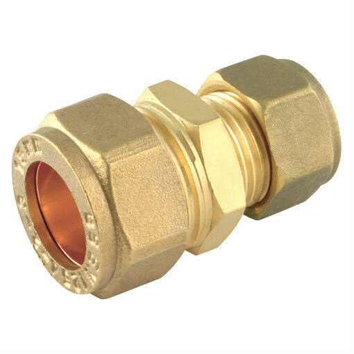 Brass reducing straight coupler compression fitting