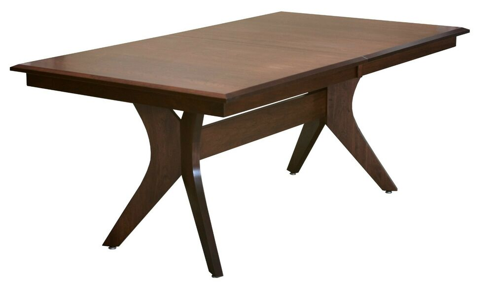Amish Handcrafted Modern Retro Harper Rectangle Dining Table Solid Wood 42 Qu