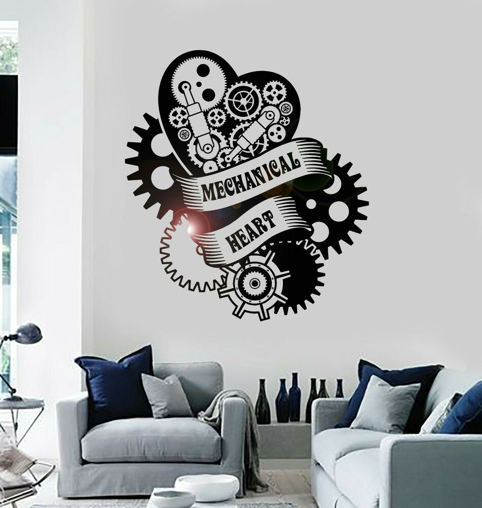 Vinyl Decal Mechanical Heart Steampunk Engine Garage Art