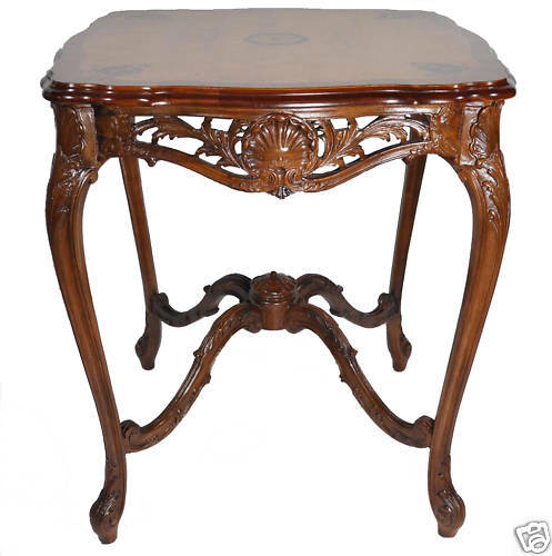 French Louis Xiv Style Inlaid Marquetry Side Table Walnut