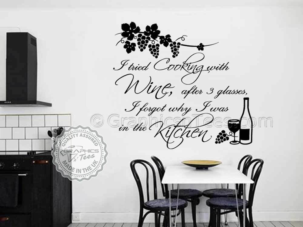 kitchen wall sticker, cook with wine quote, funny kitchen cooking