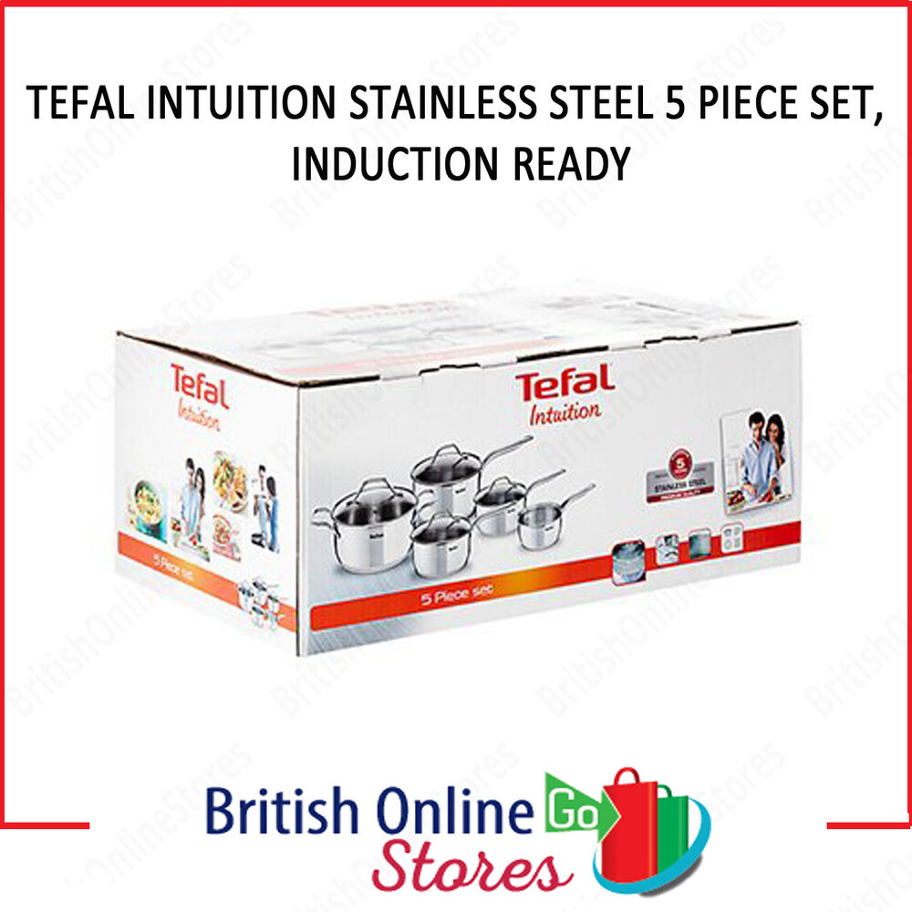 tefal intuition induction 5 piece frying pan set stainless. Black Bedroom Furniture Sets. Home Design Ideas