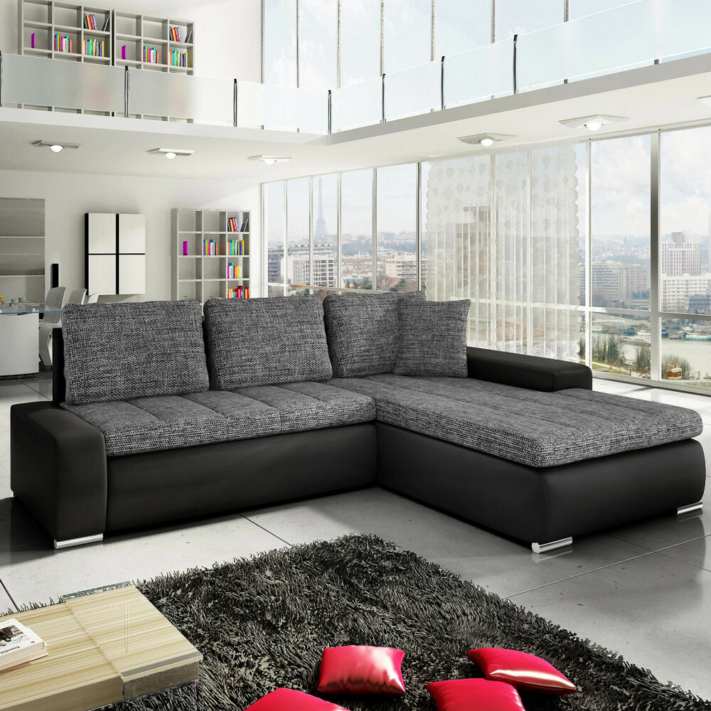 ecksofa anna mit schlaffunktion modern moebel couchgarnitur sofa mit bettkasten ebay. Black Bedroom Furniture Sets. Home Design Ideas