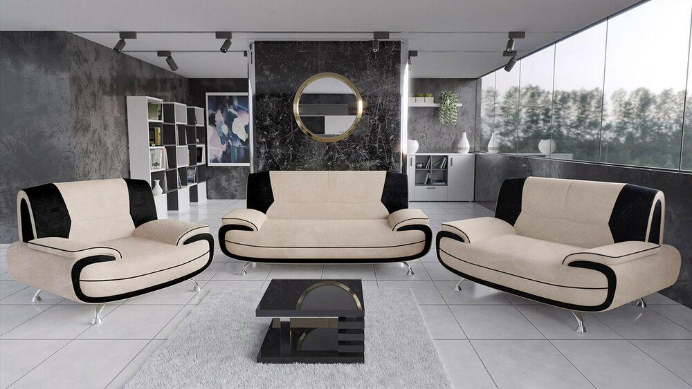 modern sofagarnitur set polstergarnitur sofas panda 3 2 1 sofa couch kunstleder ebay. Black Bedroom Furniture Sets. Home Design Ideas