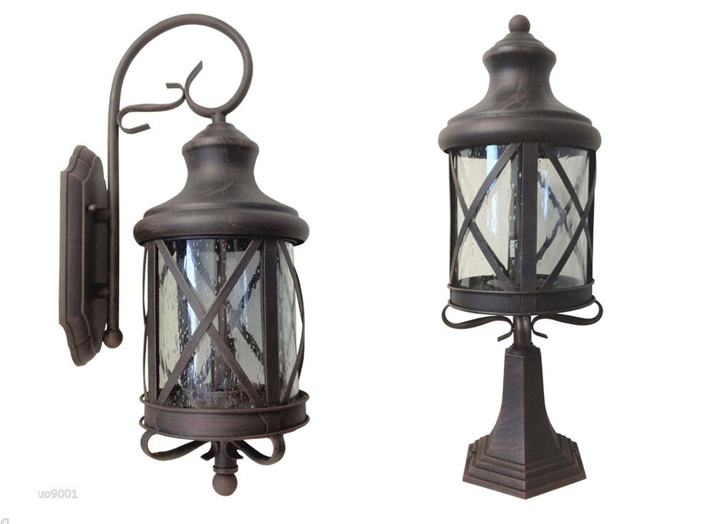 Aluminum Outdoor Exterior Lantern Wall Lighting Fixture Rusted Sconce Hanging S eBay