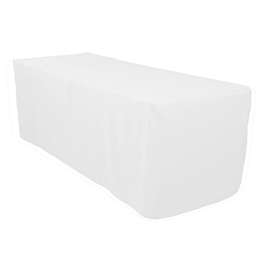 6 ft fitted white rectangle table polyester trade show wedding dj table cloth ebay. Black Bedroom Furniture Sets. Home Design Ideas