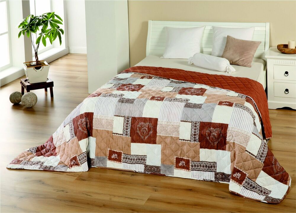 xxltagesdecke bett berwurf decke 210x280 patchwork plaid quilt landhaus shabby ebay. Black Bedroom Furniture Sets. Home Design Ideas
