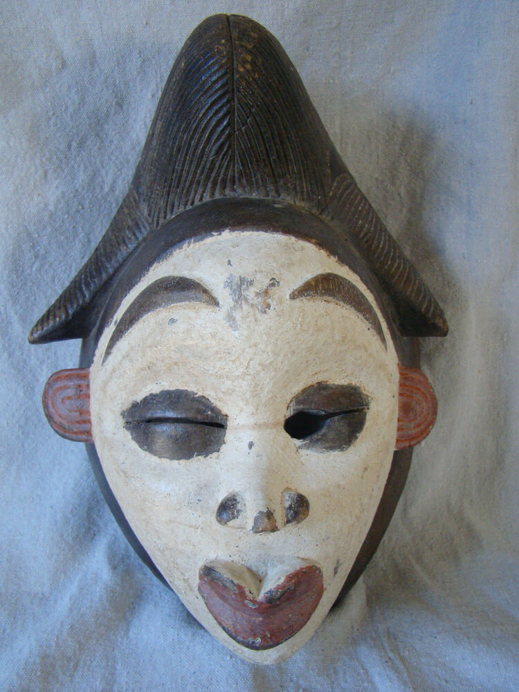 Authentic vintage tribal african wood carved painted face