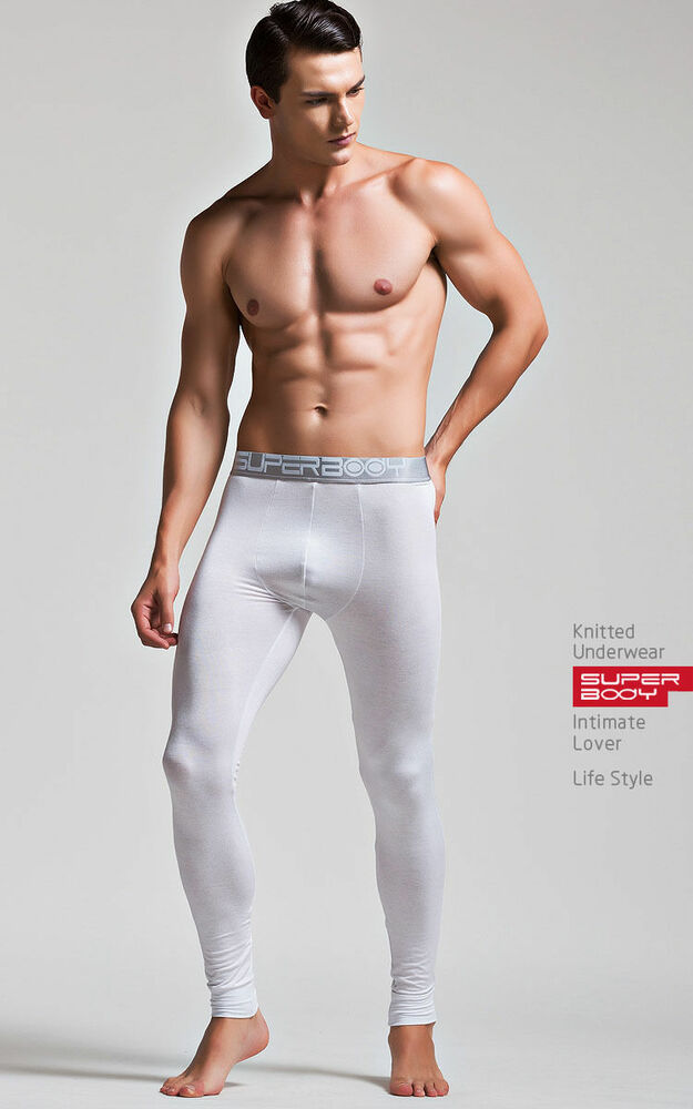 Mens Long Johns Thermal Underwear Sexy  Hot Guygay Int White Size M L Xl  Ebay-1643