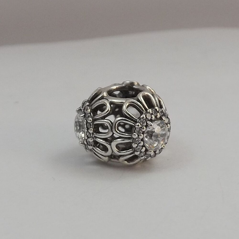 Pandora Sterling Silver Floral Brilliance Clear CZ Bead ...
