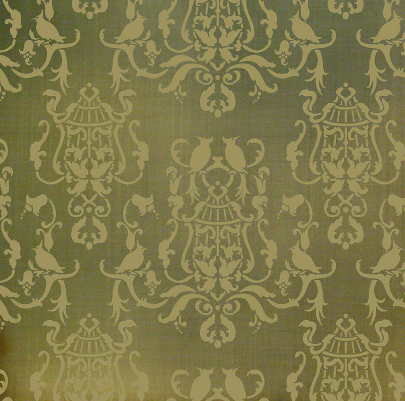 Birds of paradise damask stencil wall pattern stencils for Damask wall mural