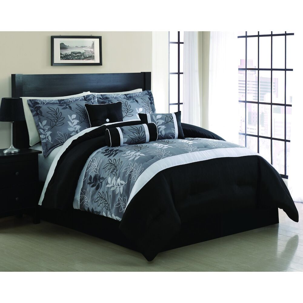 Comforter Set Bedding 7 Piece King Size Embroidered Luxurious Grey White Black Ebay