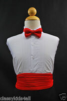 Wedding Party RED CUMMERBUND CUMBERBAND + BOW TIE Boys Children Tuxedo Suit
