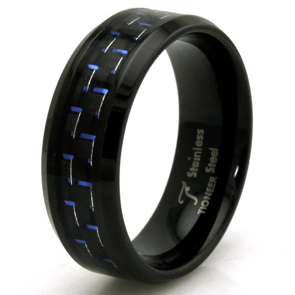 Stainless Steel Mens Wedding Band Ring 8mm: Stainless Steel Blue Carbon Fiber Personalized Black Mens