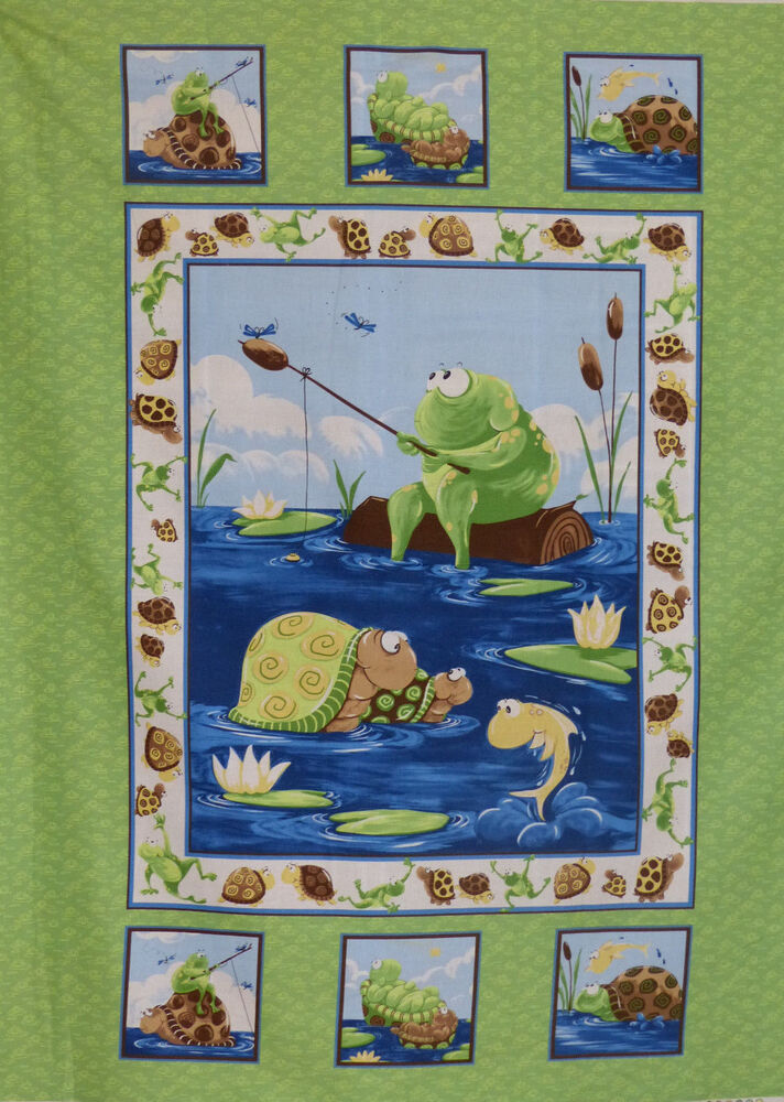 Frog Turtle Amp Fish Baby Fabric Panel Susybee 1 Yd 100