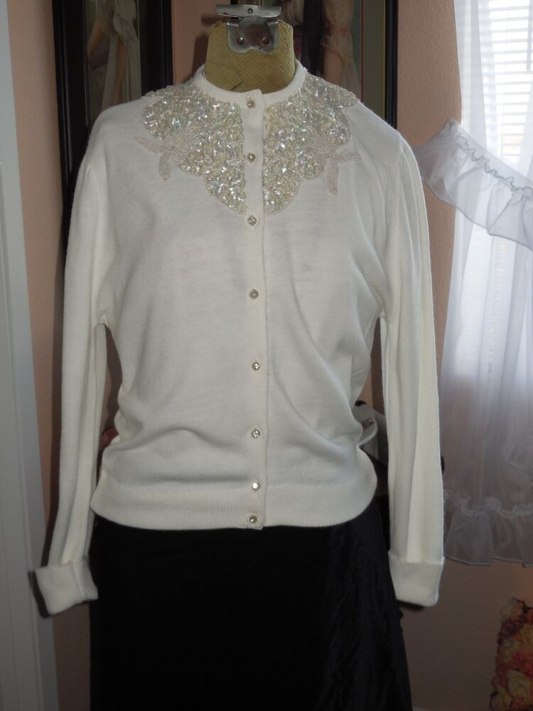 "Mother Of Pearl >> Vintage P/S Ladies ""Rosanna"" Orlon Cardigan Sweater ..."