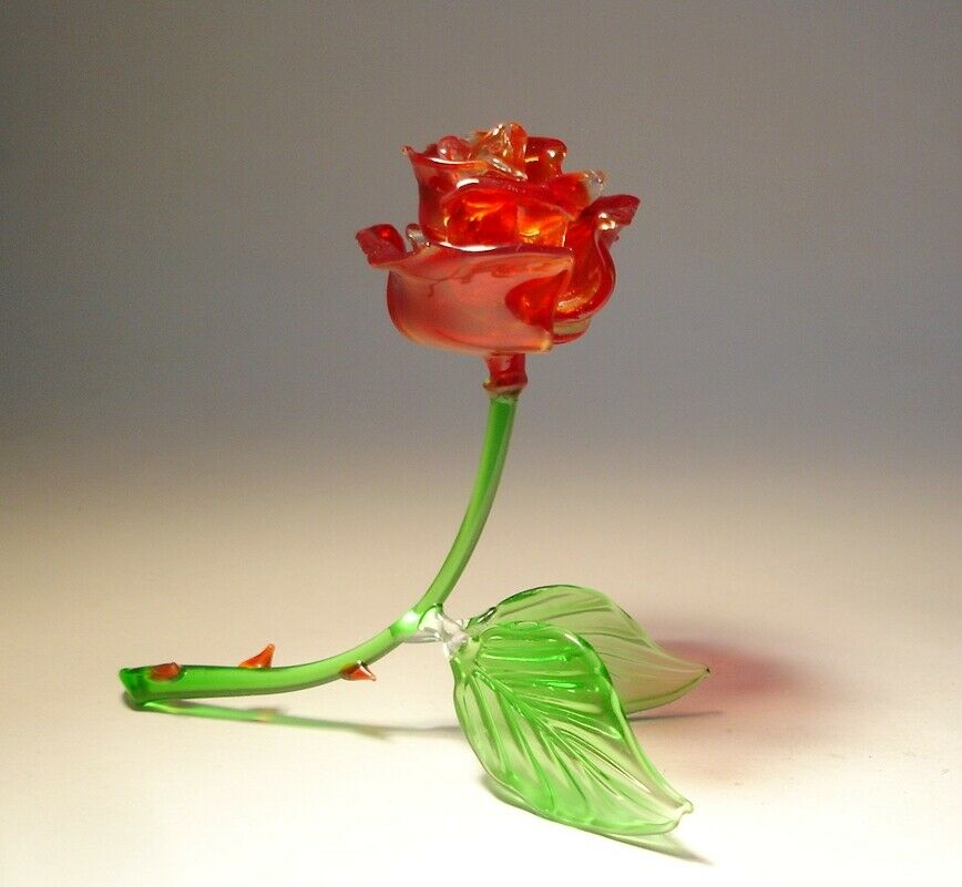 "Blown Glass ""Murano"" Figurine Flower RED Rose Open"