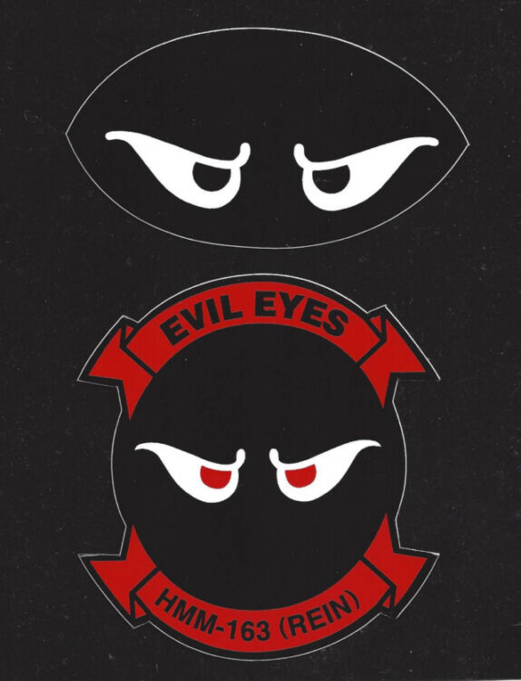 Hmm163 evil eyes us marines 2 stickers zap decals pin up hmm mcas maw helicopter ebay