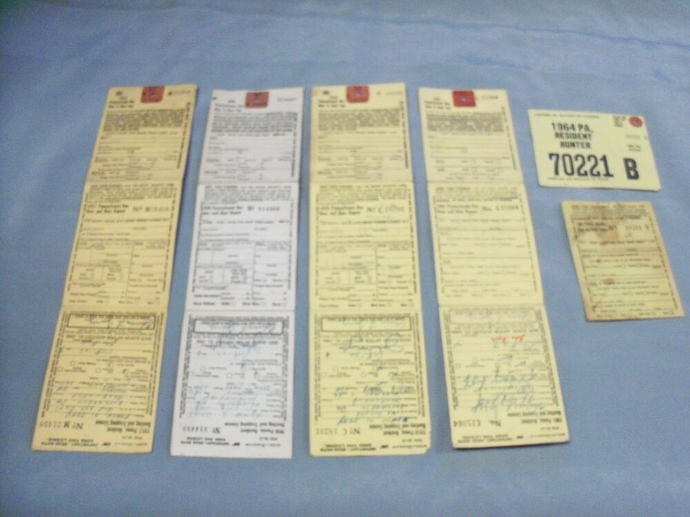 Pennsylvania hunting licenses lot of five 5 1957 1959 for Pa fishing licenses