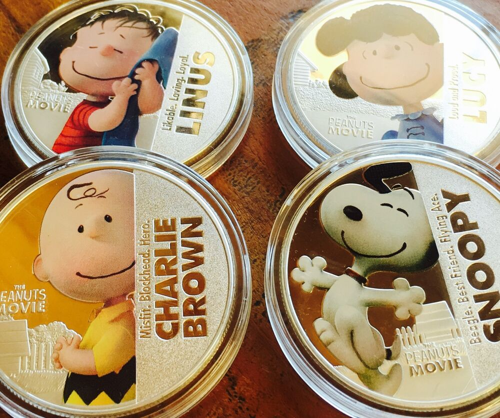 Peanuts Movie Collectables Coins Set Of 4 Finished In